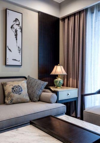 新中式客厅窗帘室内装饰