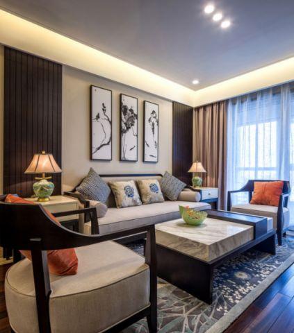 豪华新中式白色吊顶实景图