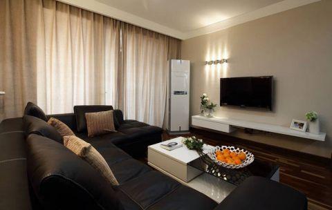 客厅黑色沙发装修效果图欣赏
