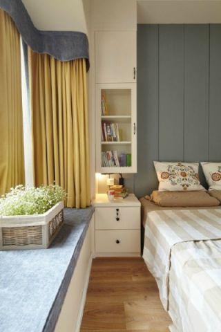 卧室黄色窗帘装修案例图片