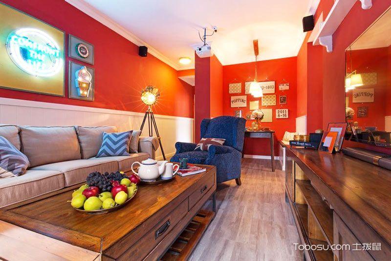 客厅 茶几_68平米二居室美式风格实景图