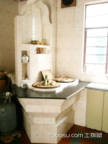 """农村厨房灶台设计 """"老""""灶台的现代化图片"""