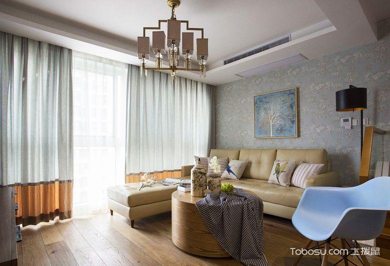98平米小复式装修样板间_客厅窗帘