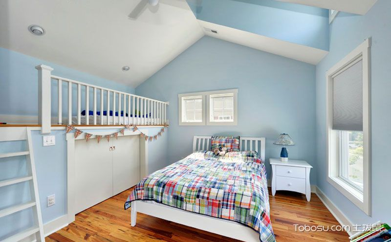 青少年卧室装修效果图,蓝色不是忧郁