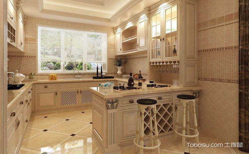 厨房地砖装修效果图,耐脏防潮你都做到了吗?