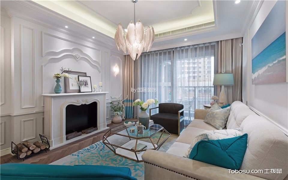东方蓝海三居室美式风格