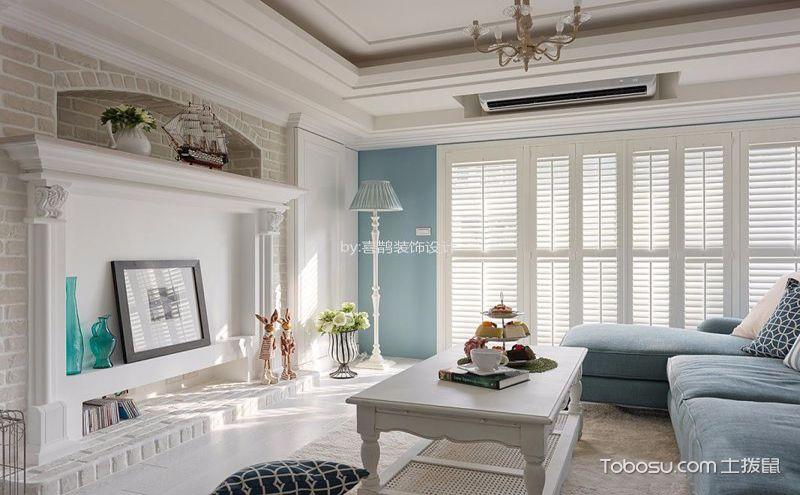 混搭风格两居室装修效果图,蓝白小清新还有一点黄