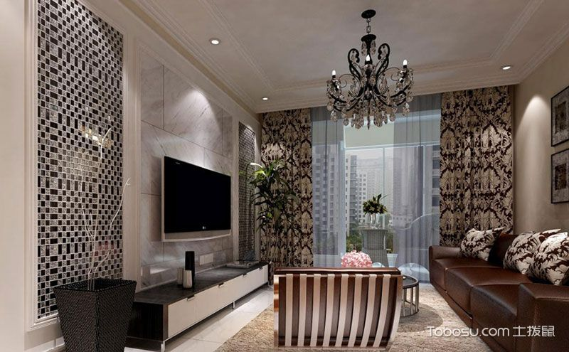 客厅电视背景墙装修图,填满时尚浪漫气质