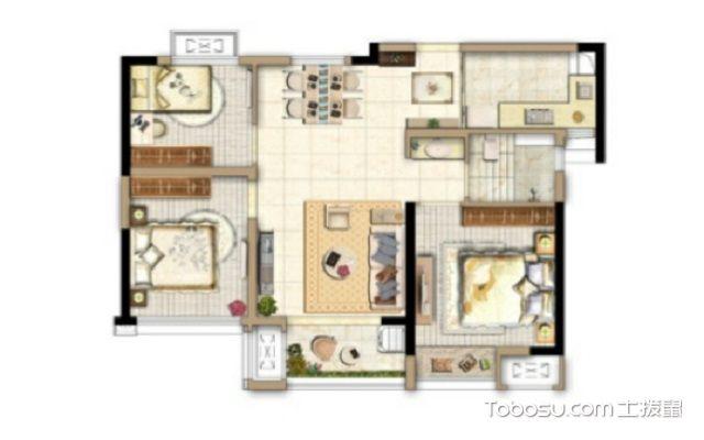88平米三室一厅户型图,了解房子从户型图开始