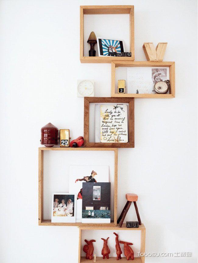 木质墙上书架效果图