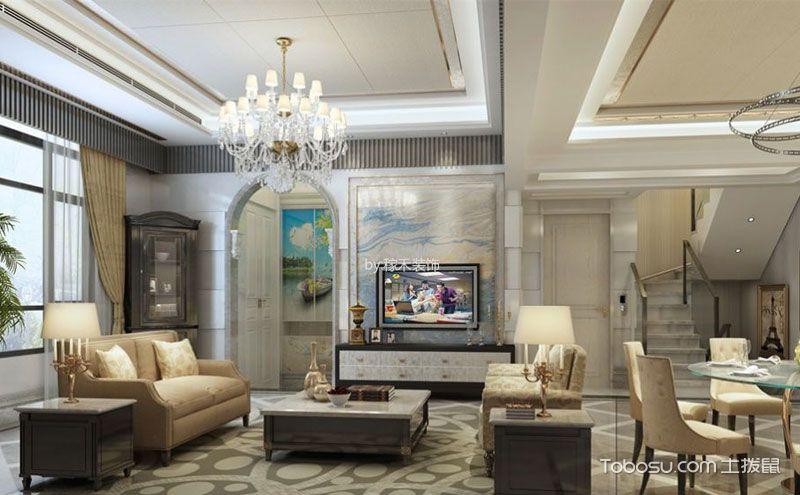 欧式风格跃层式住宅装修效果图,表里皆奢华图片