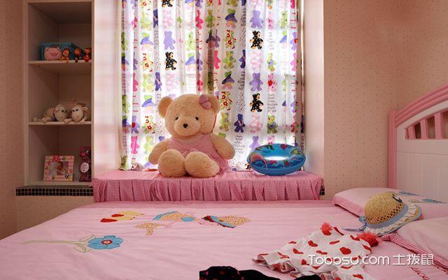 儿童房飘窗窗帘效果图