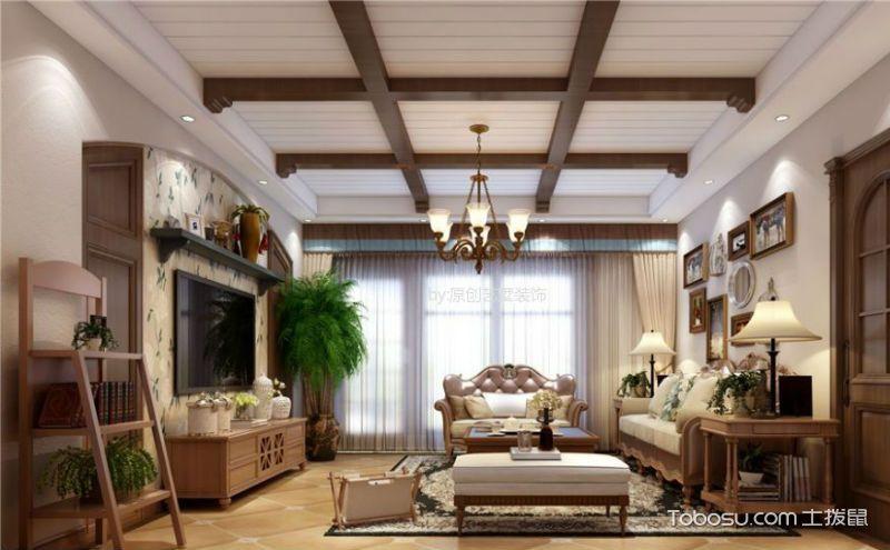 美式客厅家具摆放效果图,贵气风情很迷人
