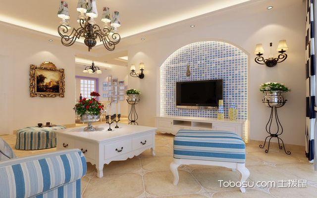 地中海客厅墙壁瓷砖效果图