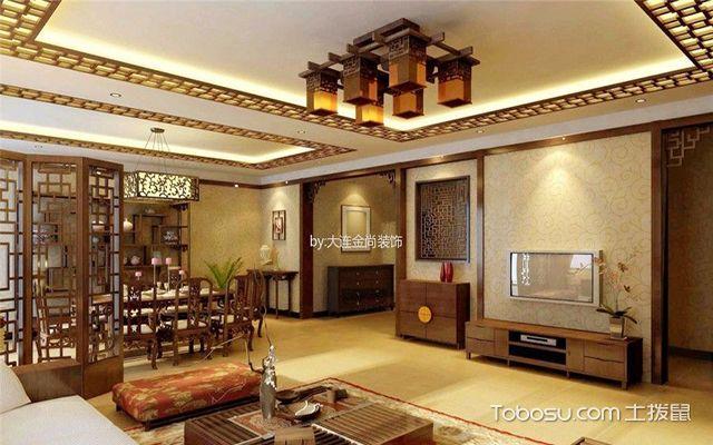 中式客厅墙壁瓷砖效果图