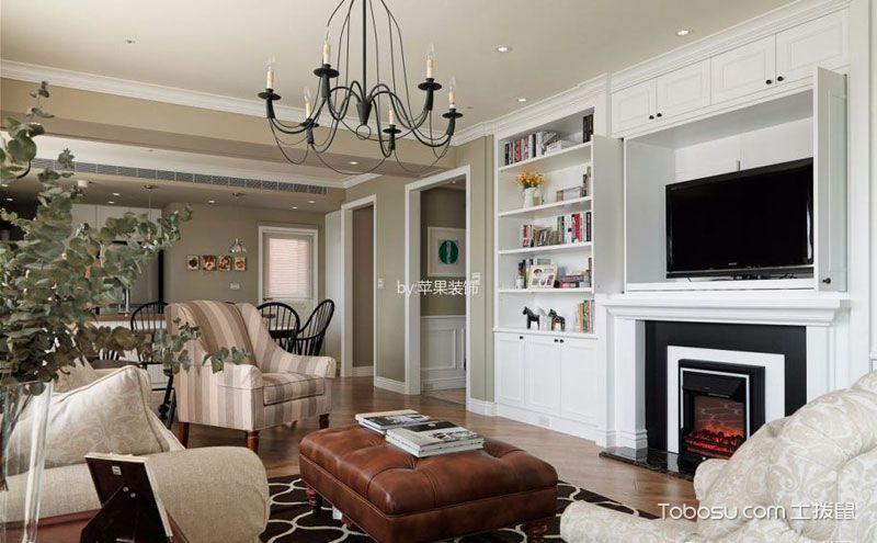 美式客厅背景墙柜子图片,外在精致内里沉稳