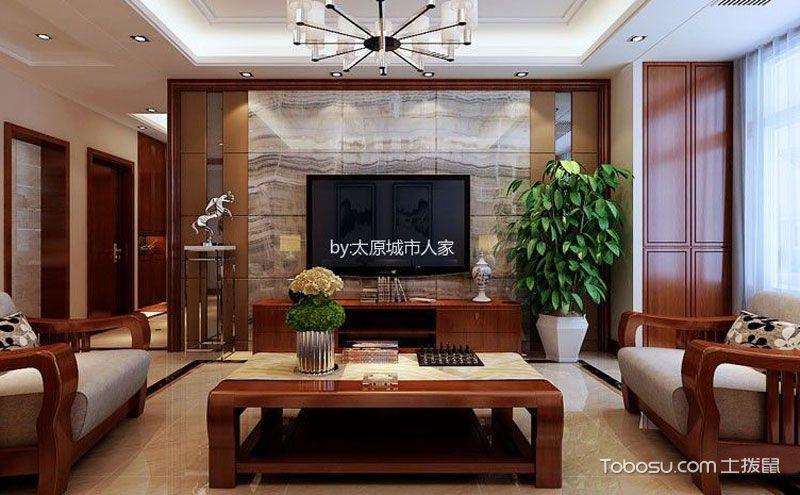 135平米三居室装修效果图,大美之家的写意设计