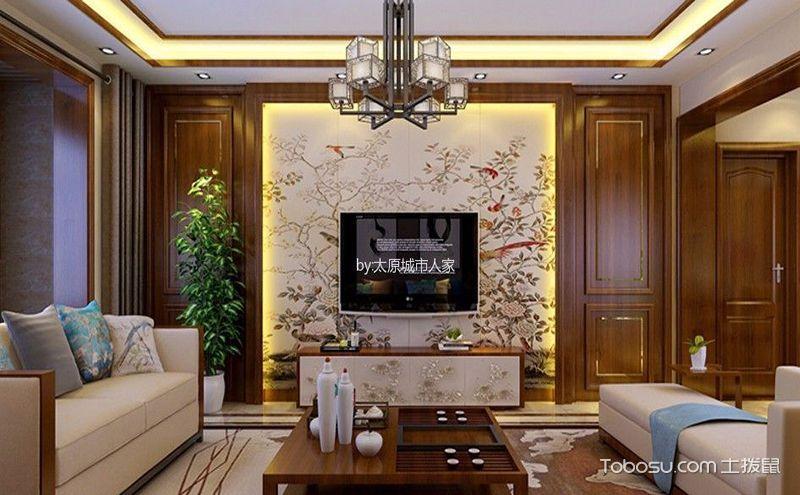 简约中式客厅背景墙效果图,一揽芳华的美丽