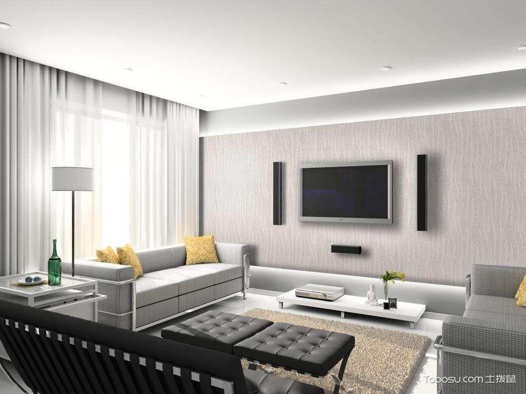 客厅墙布装修效果图片,提高质感家居品味