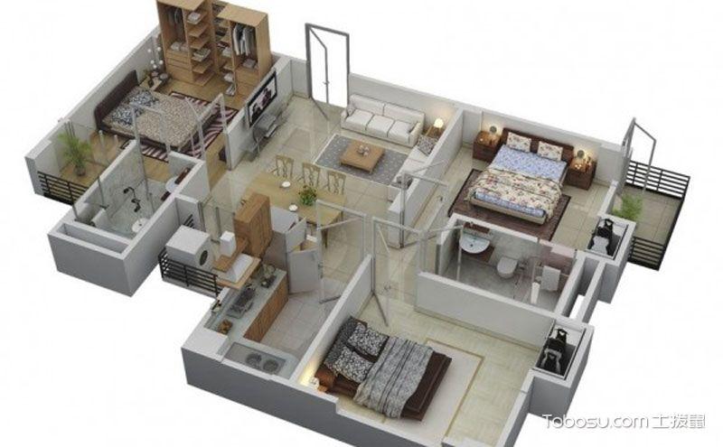 110平三室两厅户型图,合理布局才不显拥挤