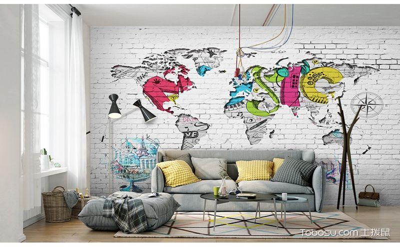 客厅文化墙手绘图片,挥挥洒洒间展现自我风采