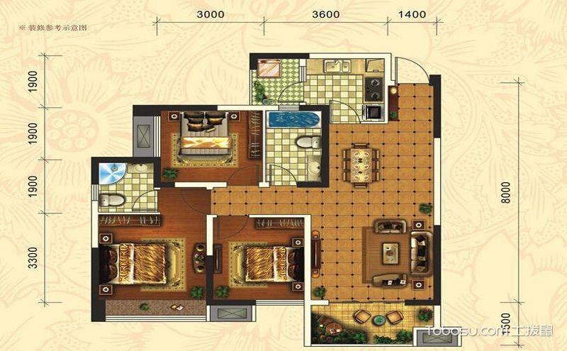 110平米三室一厅户型图,为你造一个新家梦