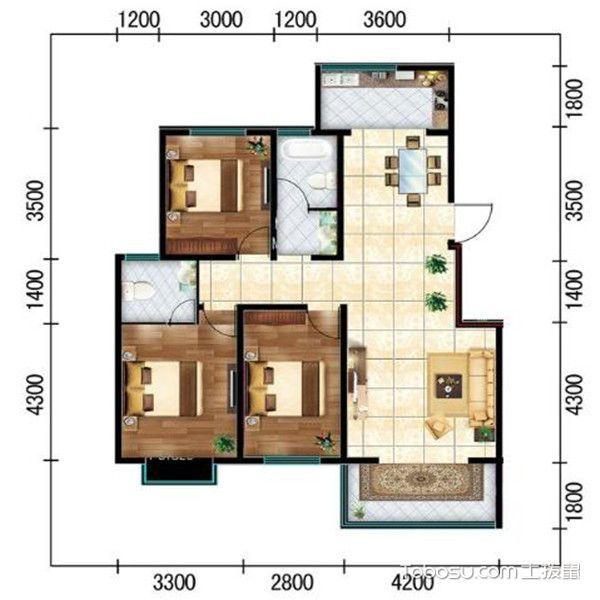 三居室最好的户型图-动静分离