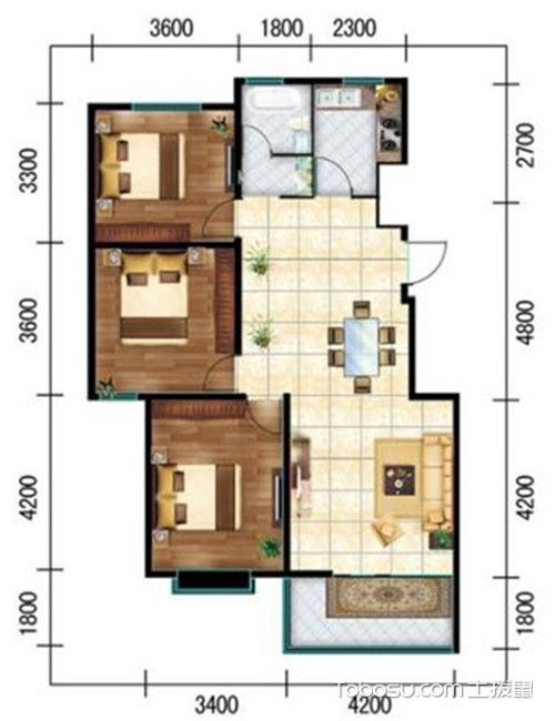 三居室最好的户型图-得房率高