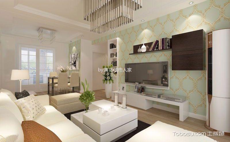 现代简约客厅墙布电视墙效果图,简单却很实用