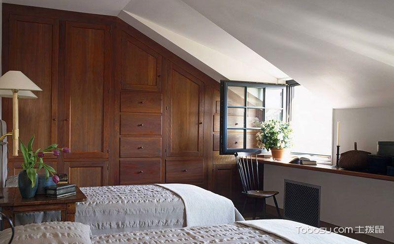 阁楼卧室衣柜装修效果图,不规则也是一种美