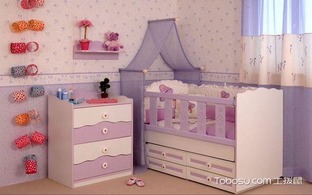 紫色婴儿床