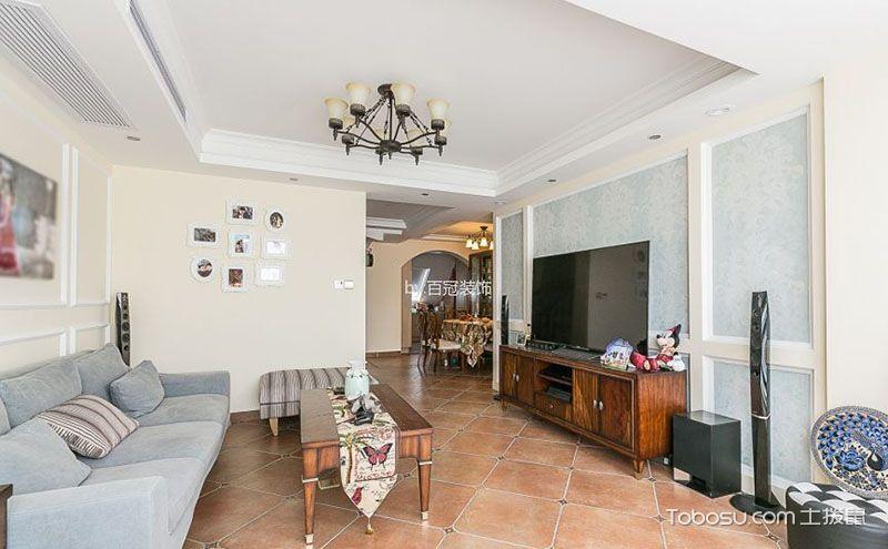 美式客厅装修地砖效果图,自然舒适惹人爱