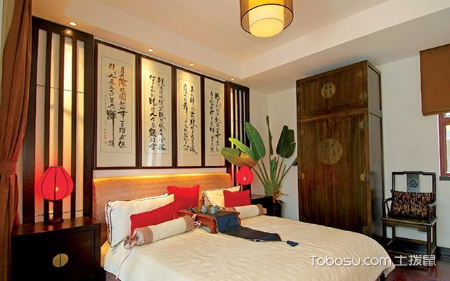 中式卧室床头背景墙