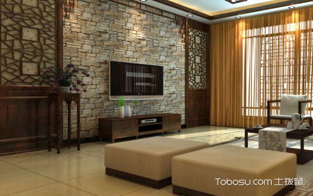 现代中式文化石风格背景墙
