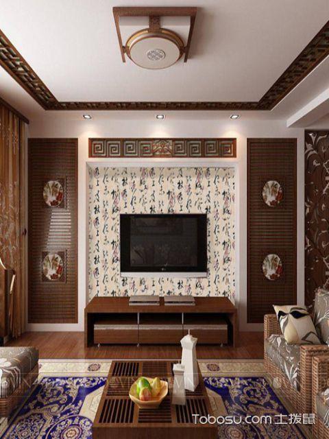 现代中式壁纸背景墙