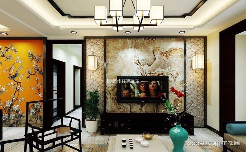 中式电视背景墙图片,古典美也会很时尚