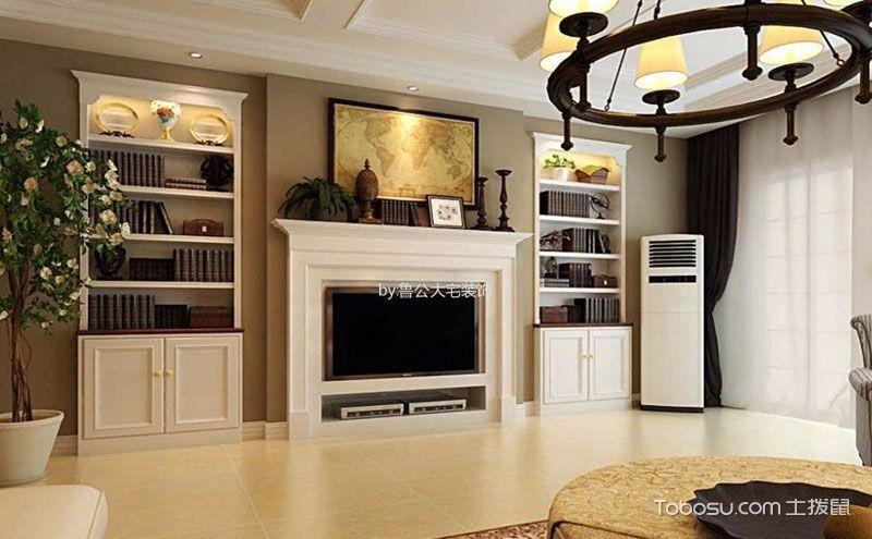 美式客厅壁炉电视柜效果图,这才是家的温暖