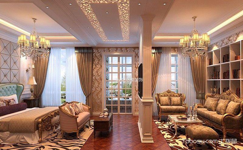 客厅卧室隔断装修效果图,经典艺术造就时尚