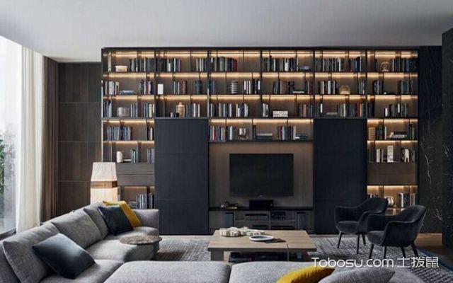 电视背景书橱墙