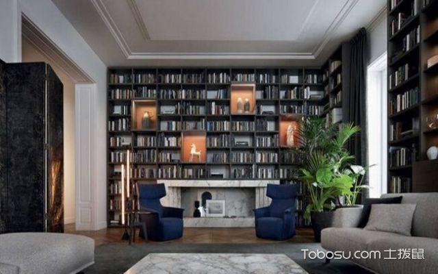 壁炉造型书橱墙