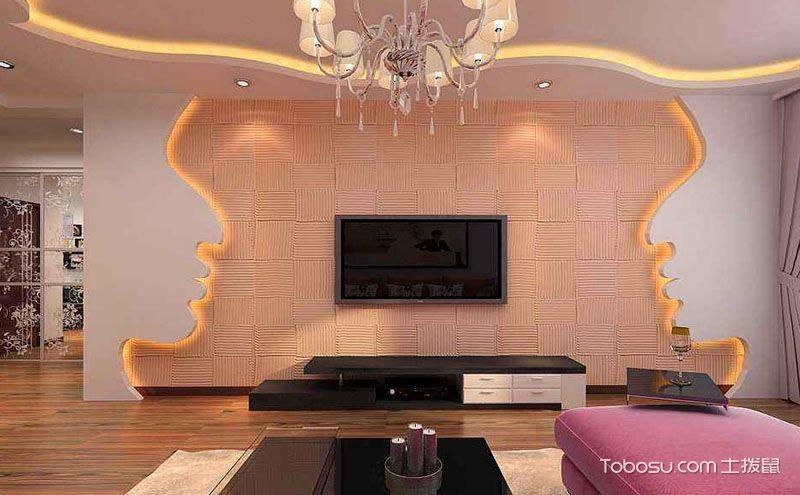 硅藻泥电视背景墙装修效果图,清新环保更养眼