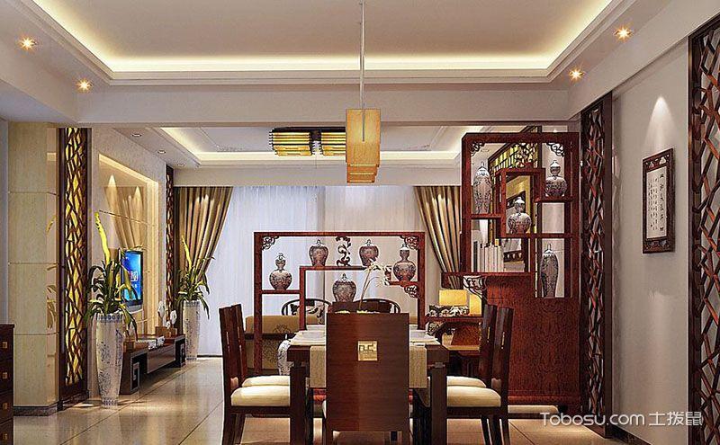 客厅餐厅博古架隔断效果图,让空间优雅起来