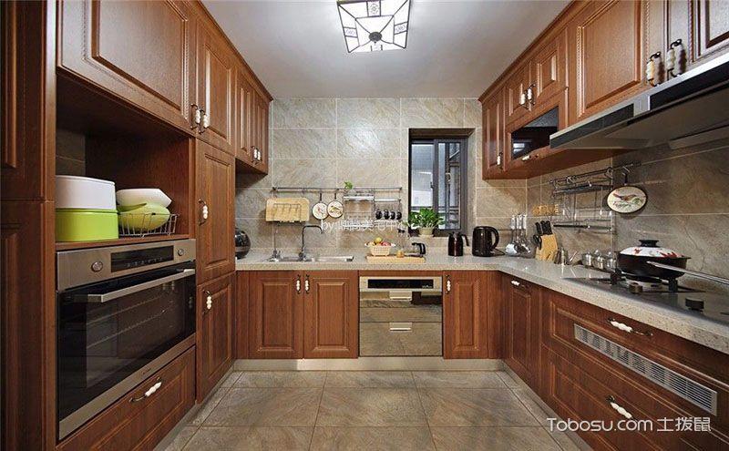 新中式厨房装修设计效果图.让你在古风环境中制作佳肴