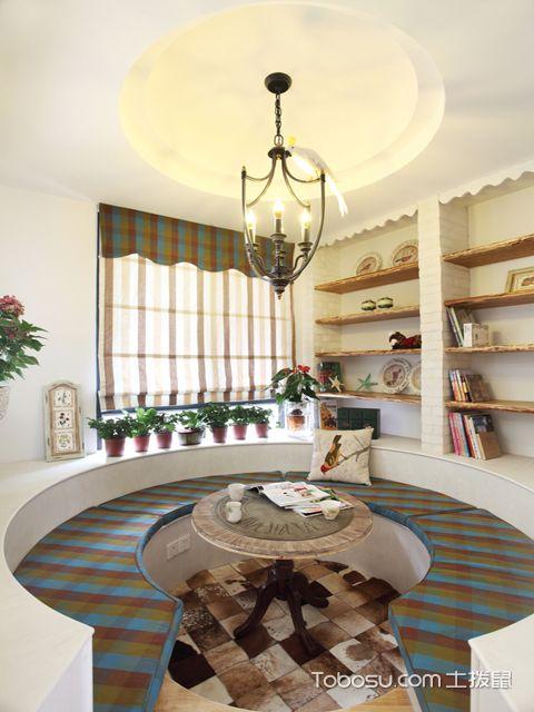 佛山130平米三室两厅田园装修效果图 圆形阳台