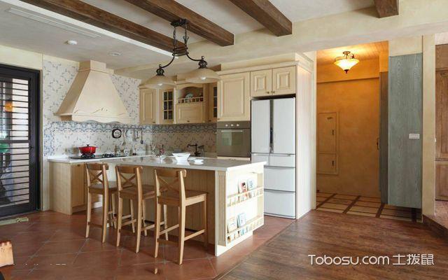 武汉110平米田园风格婚房装修图片 餐厅厨房一体化
