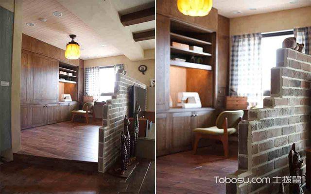 武汉110平米田园风格婚房装修图片 半开放式书房