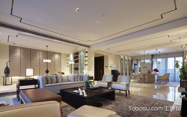 130平米开放新中式风格装修效果图,三室两厅亦可更大图片