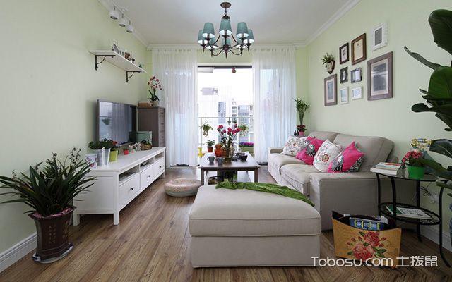 扬州120平米三室两厅田园装修风格客厅