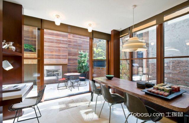 2017美式大户型客厅落地窗效果图之木色