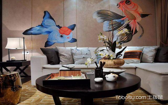 西安100平米中式两室一厅装修效果图 客厅背景墙